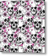 Skulls And Red Flowers Metal Print