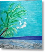 Sky Blue Palm Tree Beach Metal Print