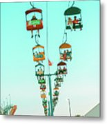 Sky Gliders Over Crowd Metal Print