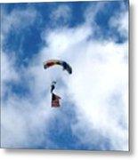 Skydiver With Flag Metal Print