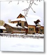 Skyland Farms In Winter Metal Print