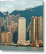 Skyline From Kowloon With Victoria Peak In The Background In Hong Kong Metal Print