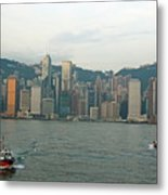 Skyline From Kowloon With Victoria Peak In The Background Metal Print by Sami Sarkis