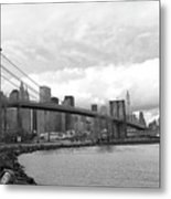 Skyline Nyc Brooklyn Bridge Bw Metal Print