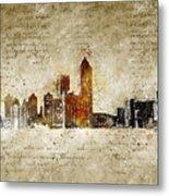 skyline of Atlanta in modern and abstract vintage-look Metal Print