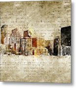 skyline of Denver in modern and abstract vintage-look Metal Print