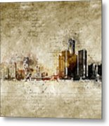 skyline of Detroit in modern and abstract vintage-look Metal Print