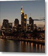 Skyline Of Frankfurt City In Twilight Metal Print