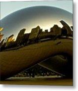 Skyline Reflection On Cloud Gate - Chicago -  Metal Print