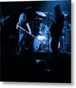 Skynyrd Sf 1975 #10 Crop 2 Enhanced In Blue Metal Print