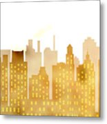Skyscrapers - Panorama Of Modern Skyscraper Town Metal Print