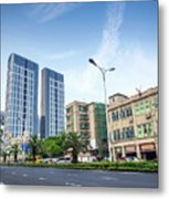 Skyscrapers And Road In Downtown Xiamen City China Metal Print