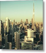 Skyscrapers Of Dubai At Sunset Metal Print