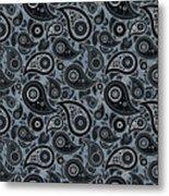 Slate Gray Paisley Design Metal Print