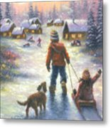 Sledding To The Village Metal Print