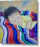 Sleeping On A Rainbow Metal Print
