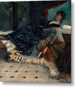 Sleeping Woman With A Book Metal Print