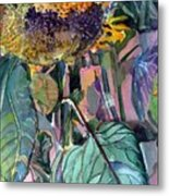 Sleepy Sunflower Metal Print