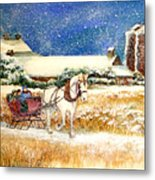 Sleigh Ride At Brickers Metal Print