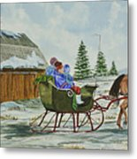 Sleigh Ride Metal Print by Charlotte Blanchard