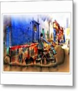 Slice Of Life Milkman Blue City Houses India Rajasthan 1a Metal Print