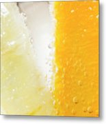 Slice Of Orange And Lemon In Cocktail Glass Metal Print