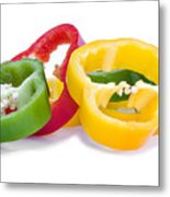 Sliced Colorful Peppers Metal Print