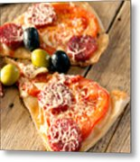 Slices Of Homemade Pizza With Salami Metal Print
