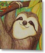 Sloth And Frog Metal Print