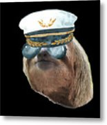 Sloth Aviator Glasses Captain Hat Sloths In Clothes Metal Print