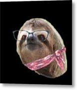 Sloth Black Glasses Red Scarf Sloths In Clothes Metal Print