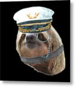 Sloth Monacle Captain Hat Sloths In Clothes Metal Print