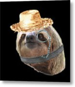 Sloth Monacle Straw Sloths In Clothes Metal Print