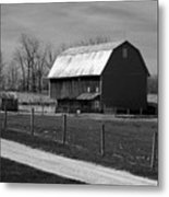 Small And Big Barns Monochrome Metal Print