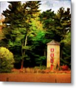 Small Autumn Silo Metal Print