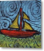 Small Boat With Yellow Sail Metal Print