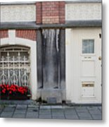Small Door And Flower Box  Amsterdam Metal Print