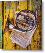 Small French Horn Metal Print