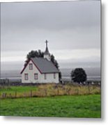 Small Icelandic Church With Gray Roof Metal Print