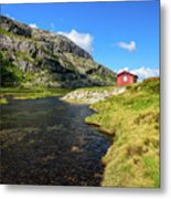 Small Red Cabin In Norway Metal Print