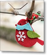 Small Red Handicraft Bird Hanging On A Wire Metal Print
