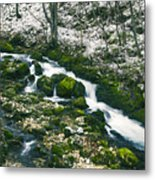 Small River In Forest In Winter Metal Print