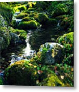 Small Stream In Green Forest Lapland Metal Print