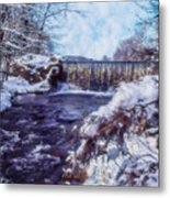 Small Stream, Snowy Scene And Waterfalls. Metal Print