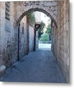 Small Street In Jerusalem Metal Print