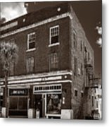 Small Town Shops - Sepia Metal Print