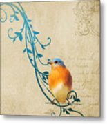 Small Vintage Bluebird With Leaves Metal Print
