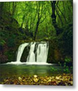 Small Waterfall In Forest Metal Print
