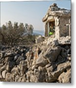 Small White Chapel And A Metal Cross On A Stone Wall Near Cres Metal Print