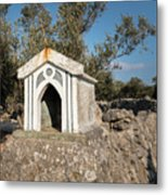 Small White Chapel On A Stone Wall Near Cres Metal Print